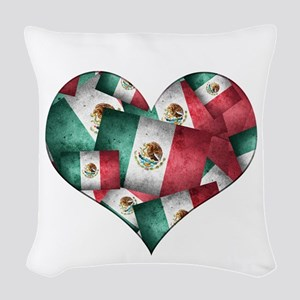 Grunge-Style Flag of Mexico H Woven Throw Pillow