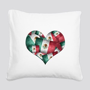 Grunge-Style Flag of Mexico Square Canvas Pillow