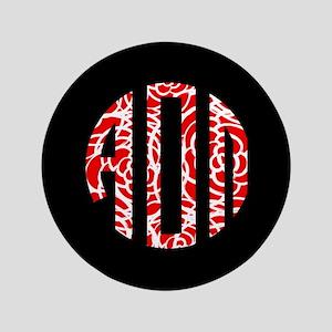 Alpha Omicron Pi Floral Monogram Button