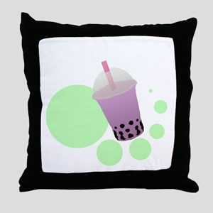 Taro Bubble Tea Throw Pillow