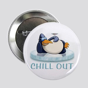 """Chill Out Penguin 2.25"""" Button"""