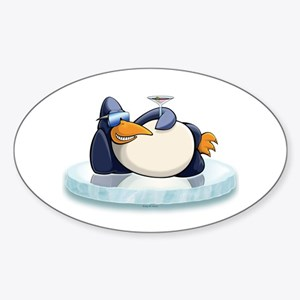 Chill Out Penguin Sticker (Oval)