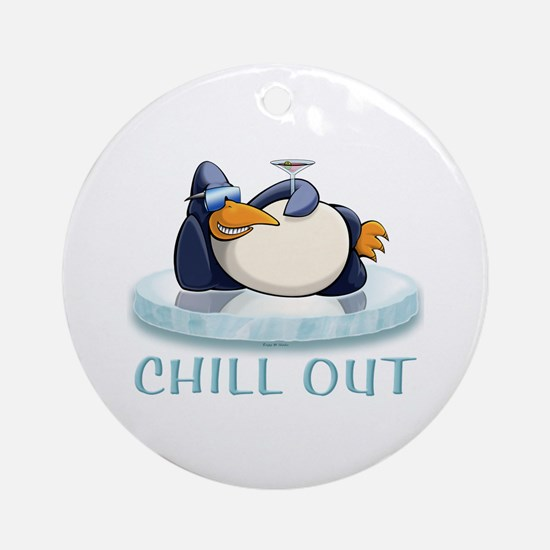 Chill Out Penguin Ornament (Round)