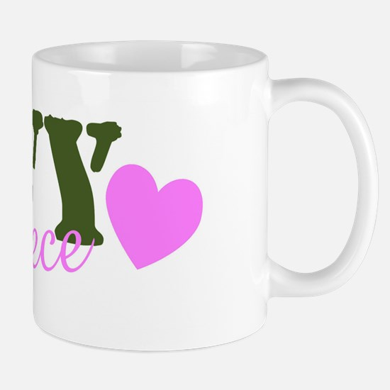 Navy Niece Green & Heart Mug
