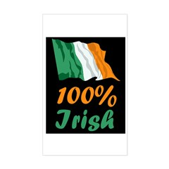 100% Irish St. Patrick's Day Sticker (Rectangle)
