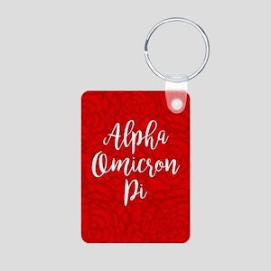 Alpha Omicron Pi Floral Aluminum Photo Keychain