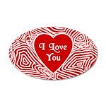 I Love You Heart 38.5 x 24.5 Oval Wall Peel