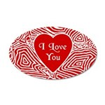 I Love You Heart 22x14 Oval Wall Peel