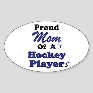 Mom 3 Hockey Players Sticker (Oval)