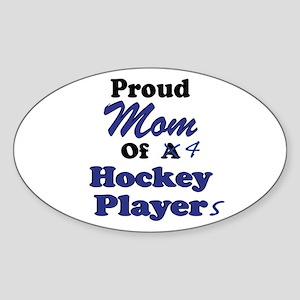 Mom 4 Hockey Players Sticker (Oval)