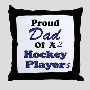Dad 2 Hockey Players Throw Pillow