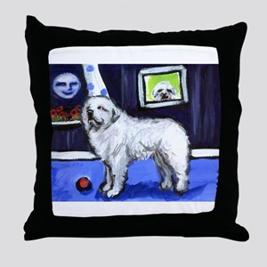 GREAT PYRENEES smiling moon Throw Pillow