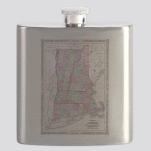 Vintage Map of New England States (1864) Flask