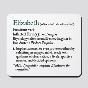 Jane Austen Elizabeth Definition Mousepad