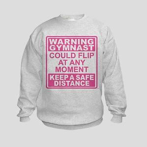 Warning Gymnast Flip Kids Sweatshirt