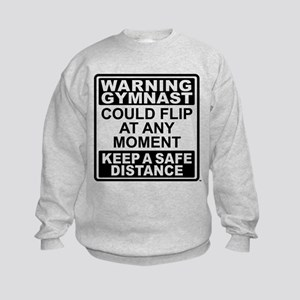 Warning Gymnast Flip Kids Sweatshirt