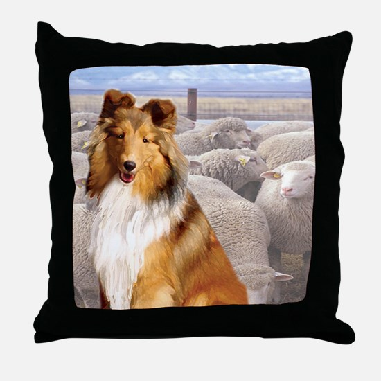 Shelty with Sheep Throw Pillow