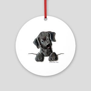 PoCKeT Black Lab Puppy Ornament (Round)