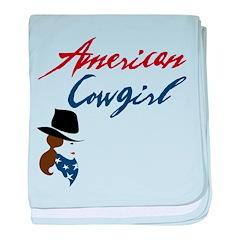 USA Cowgirl baby blanket