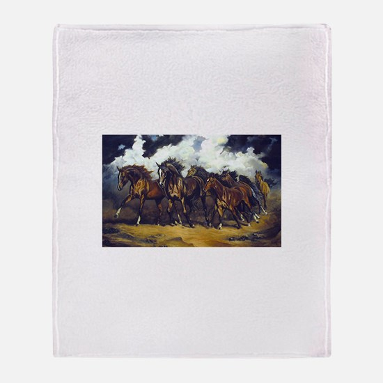 Unique Galloping horse Throw Blanket