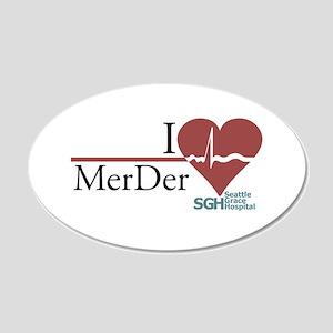 I Heart MerDer - Grey's Anato 22x14 Oval Wall Peel