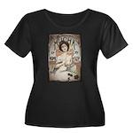 Vintage Mucha Women's Plus Size Scoop Neck Dark T-
