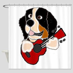 Bernese Mountain Dog Guitar Art Shower Curtain