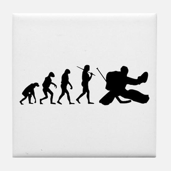 The Evolution Of The Hockey Goalie Tile Coaster