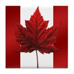 Canada Flag Maple Leaf Art Tile Coaster