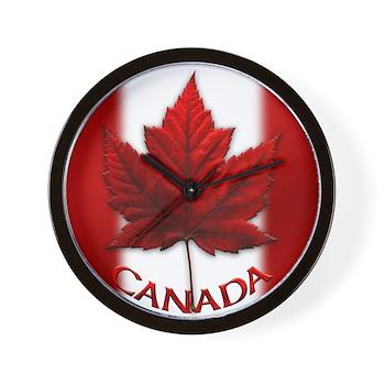 Canada Souvenir Clock Flag Autumn Maple Leaf