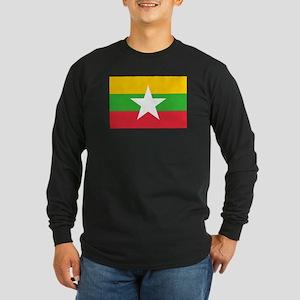 Burma Flag Long Sleeve Dark T-Shirt