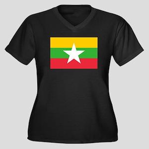 Burma Flag Women's Plus Size V-Neck Dark T-Shirt