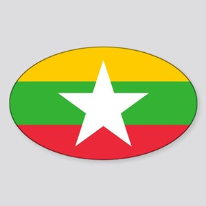Burma Flag Sticker (Oval)