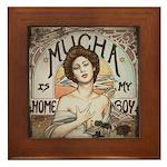 Vintage Mucha Framed Tile