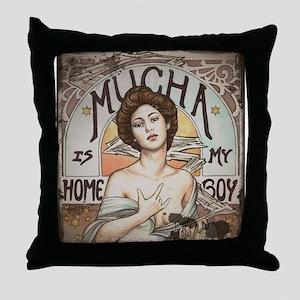 Vintage Mucha Throw Pillow