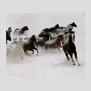 Running Horses Throw Blanket