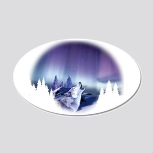Winter Wolf 20x12 Oval Wall Decal