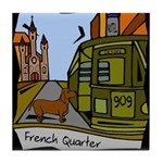 New Orleans Dachshund Art Tile Coaster