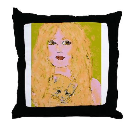 Cat Woman Throw Pillow