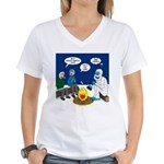 Yeti Winter Campout Women's V-Neck T-Shirt