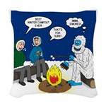 Yeti Winter Campout Woven Throw Pillow