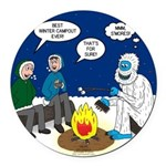 Yeti Winter Campout Round Car Magnet