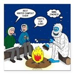 Yeti Winter Campout Square Car Magnet 3