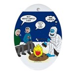Yeti Winter Campout Oval Ornament