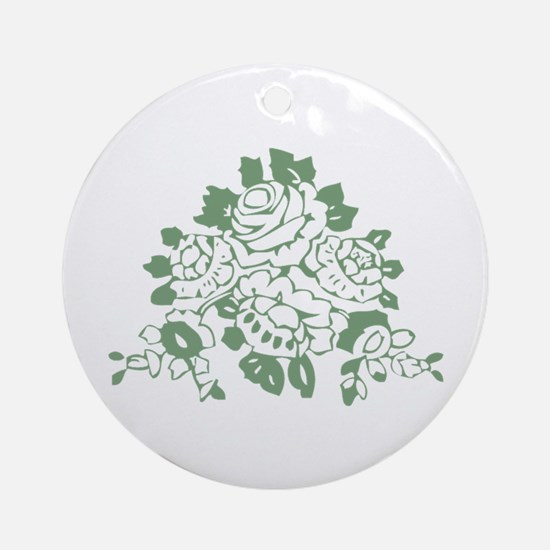 Green Rose Ornament (Round)