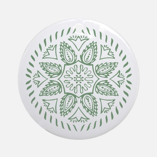 Green Floral Ornament (Round)