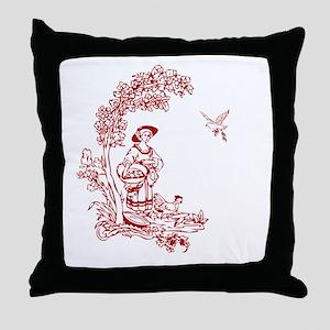 Red Maiden Throw Pillow