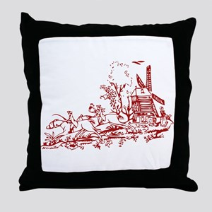 Red Windmill Throw Pillow