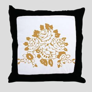 Gold Roses Throw Pillow