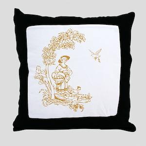 Gold Maiden Throw Pillow